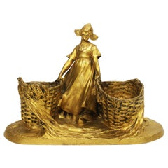 """French 19th-20th Century Gilt-Bronze Group """"FarmGirl with Baskets"""", Henri Pernot"""