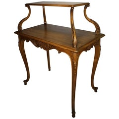 French 19th-20th Century Louis XV Style Carved Oak Two-Tier Tea or Dessert Table