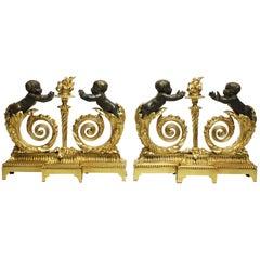 French 19th-20th Century Louis XV Style Gilt Bronze Putti Children Chenet, Pair