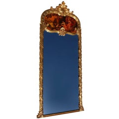 French 19th-20th Century Louis XV Style Giltwood Carved Figural Trumeau Mirror