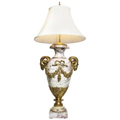 French 19th-20th Century Louis XV Style Marble and Gilt Bronze-Mounted Urn Lamp