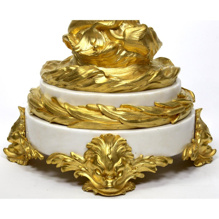 Gilt French 19th-20th Century Louis XV Style Ormolu & White Marble Mermaid Candelabra For Sale
