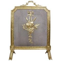 French 19th-20th Century Louis XVI Style Gilt Metal Fireplace Screen, Palmabroz
