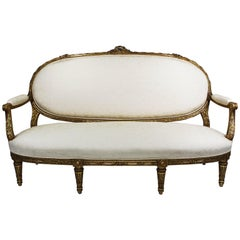 French 19th-20th Century Louis XVI Style Giltwood Carved Settee, François Linke