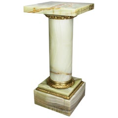 French 19th-20th Century Louis XVI Style Onyx and Ormolu Mounted Pedestal Stand