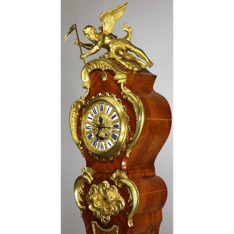 French 19th-20th Century Régence Style Gilt-Bronze Mounted Longcase Clock In Good Condition For Sale In Los Angeles, CA