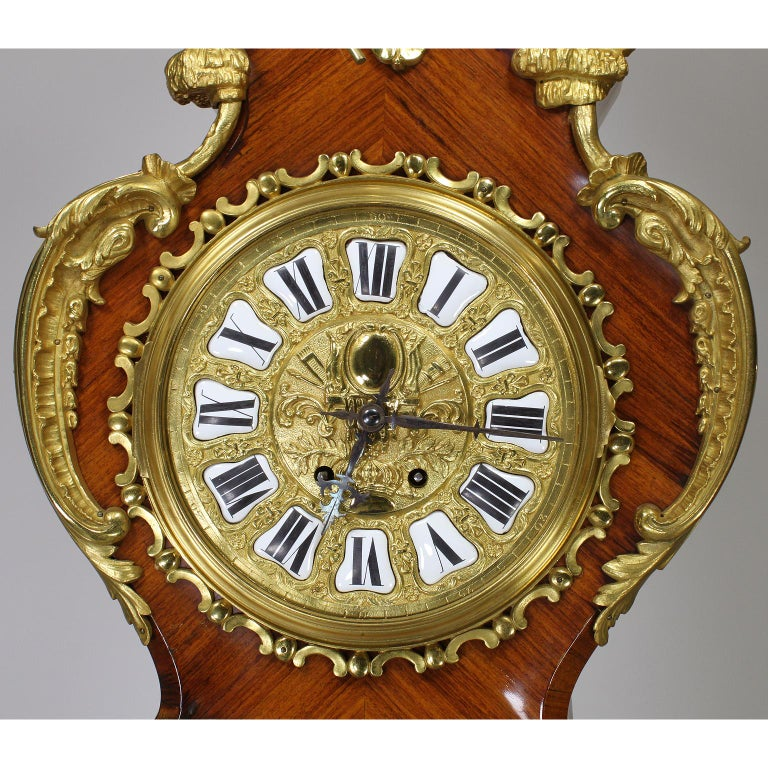 Tulipwood French 19th-20th Century Régence Style Gilt-Bronze Mounted Longcase Clock For Sale