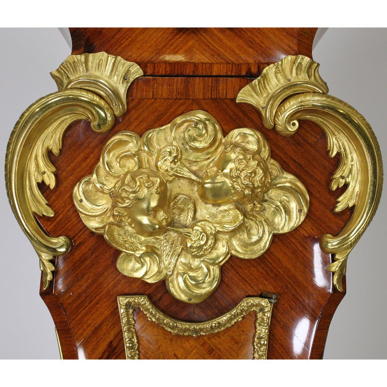 French 19th-20th Century Régence Style Gilt-Bronze Mounted Longcase Clock For Sale 1