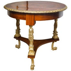 French 19th Century Mahogany and Gilt Bronze End or Center Table