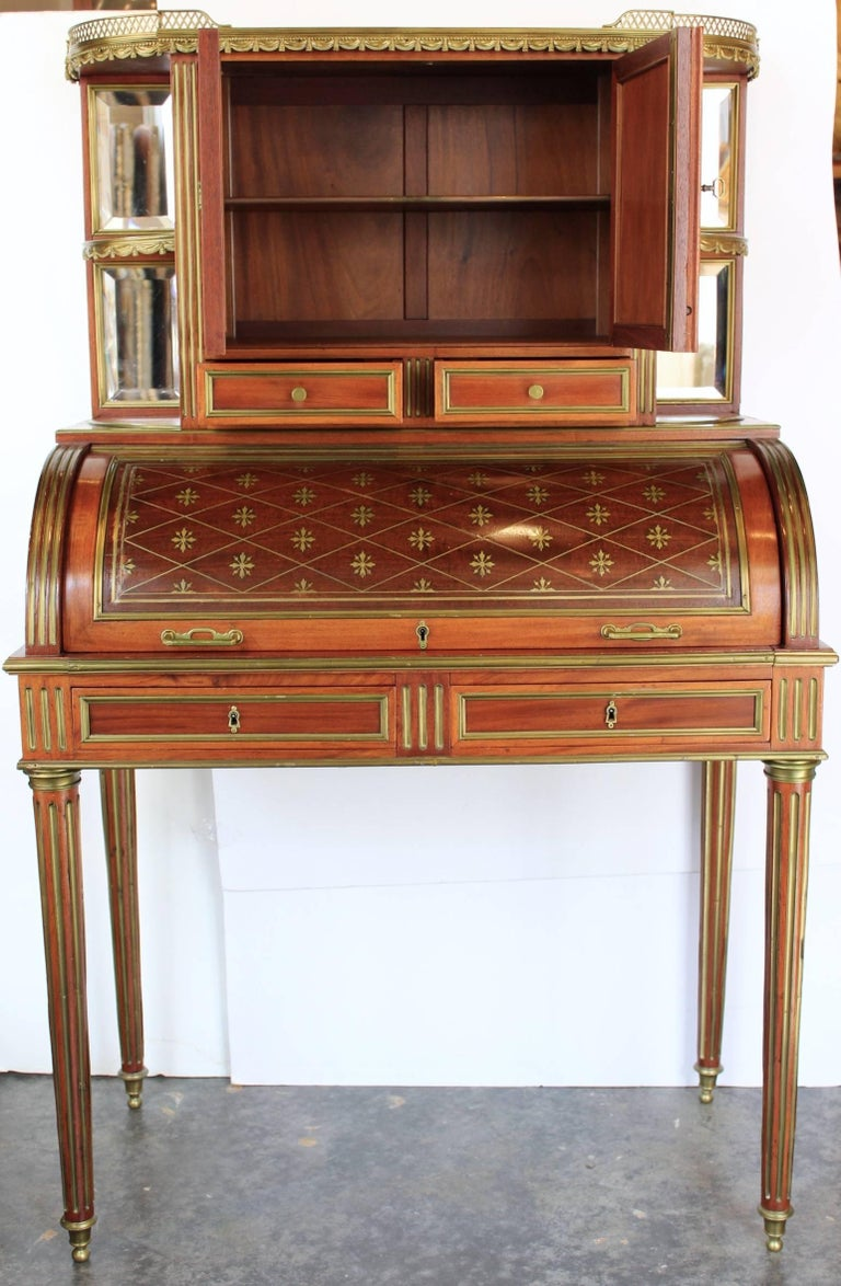 Late 19th Century French 19th Century Mahogany Veneer and Brass inlaid