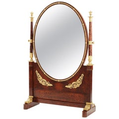 French Napoleon III Empire Style Mahogany and Ormolu Mounted Cheval Mirror