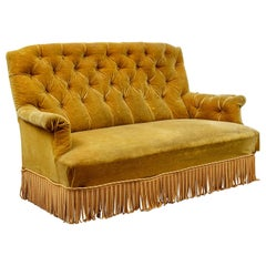 French 19th C Napoleon III Sofa in Gold Velvet