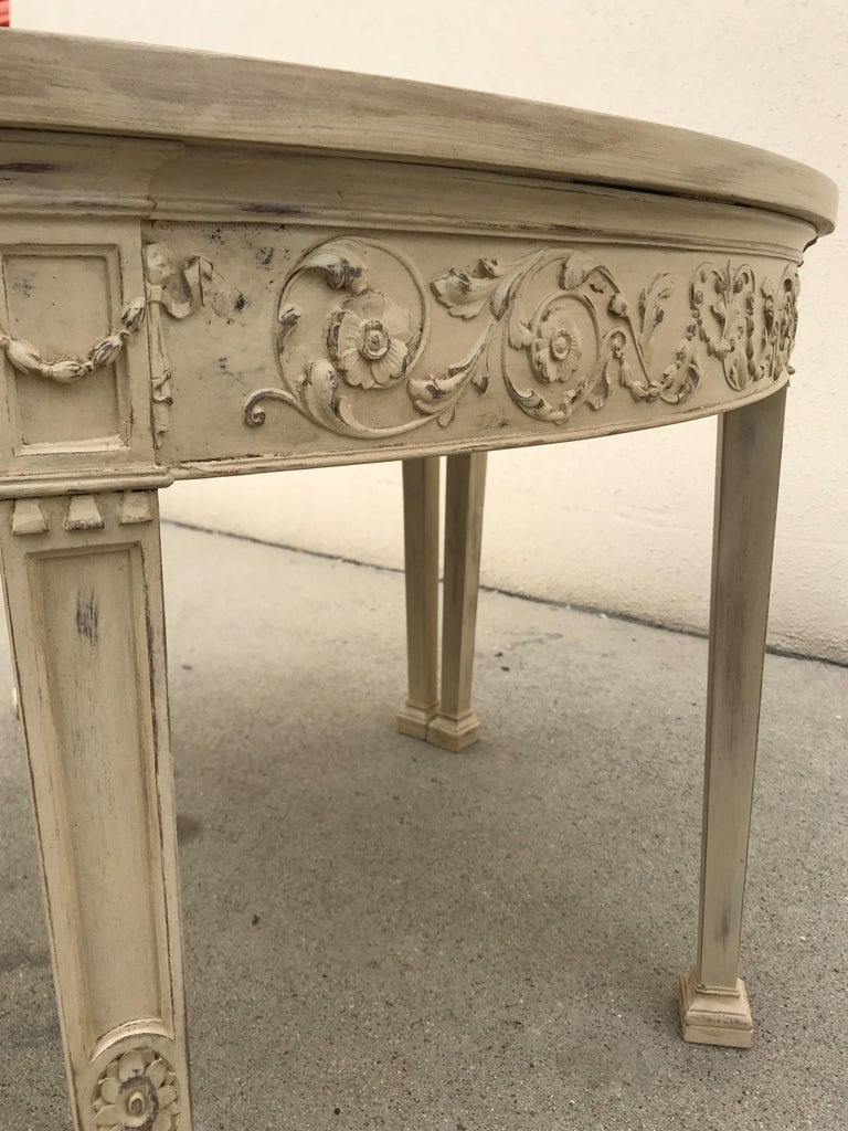 French 19th Century Painted Neoclassical Demilune Console Tables, a Pair For Sale 4