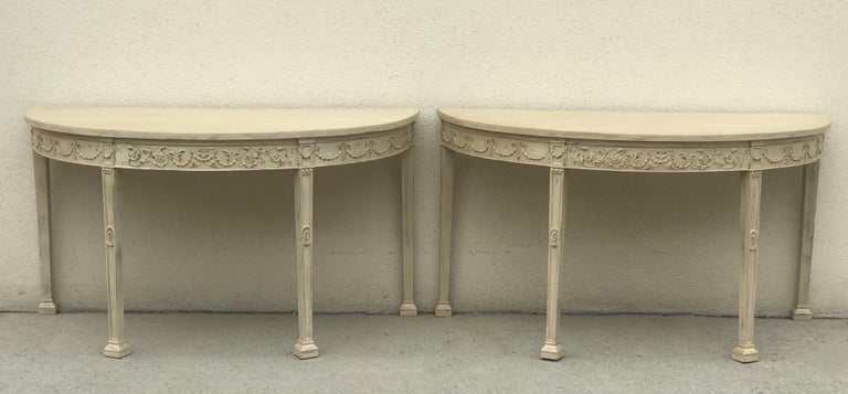 French 19th Century Painted Neoclassical Demilune Console Tables, a Pair For Sale 5