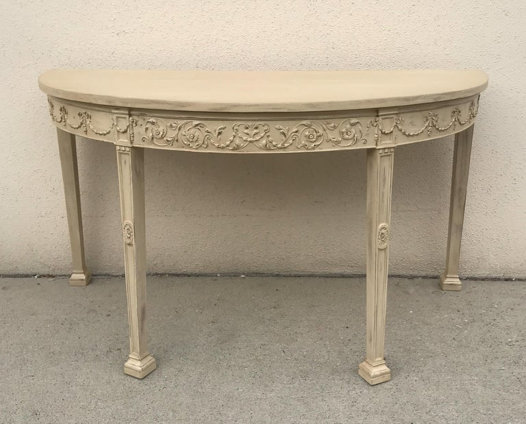 Hand-Painted French 19th Century Painted Neoclassical Demilune Console Tables, a Pair For Sale