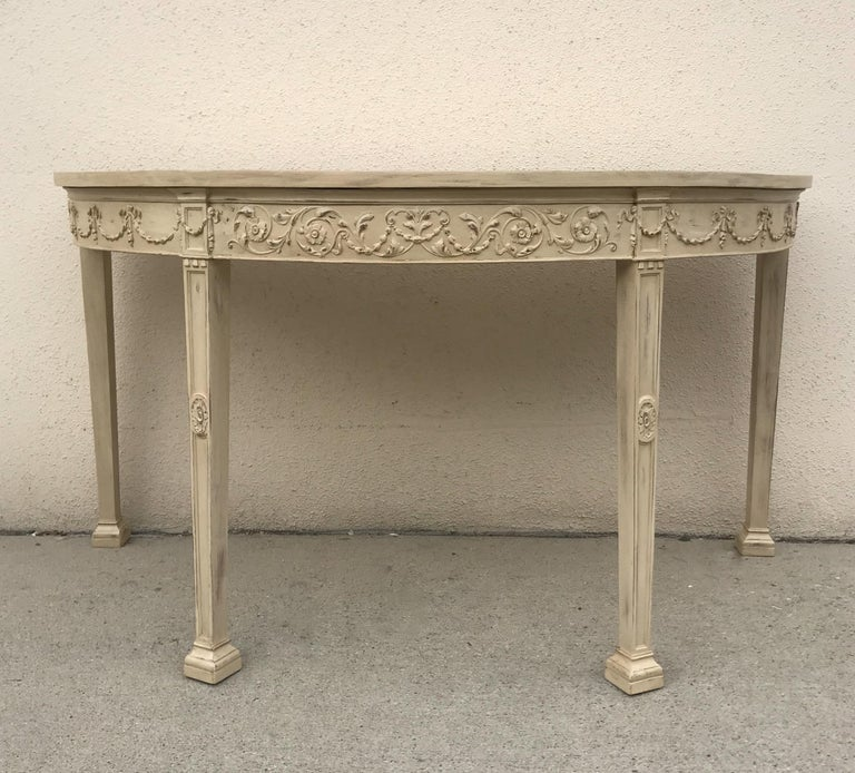 French 19th Century Painted Neoclassical Demilune Console Tables, a Pair In Good Condition For Sale In Los Angeles, CA