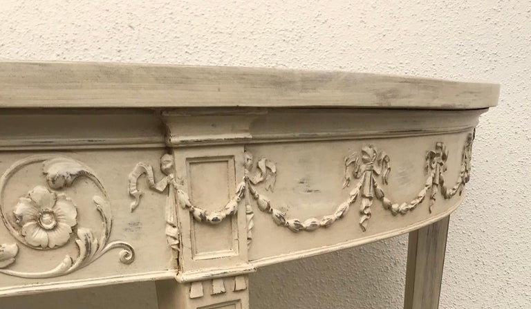 French 19th Century Painted Neoclassical Demilune Console Tables, a Pair For Sale 1