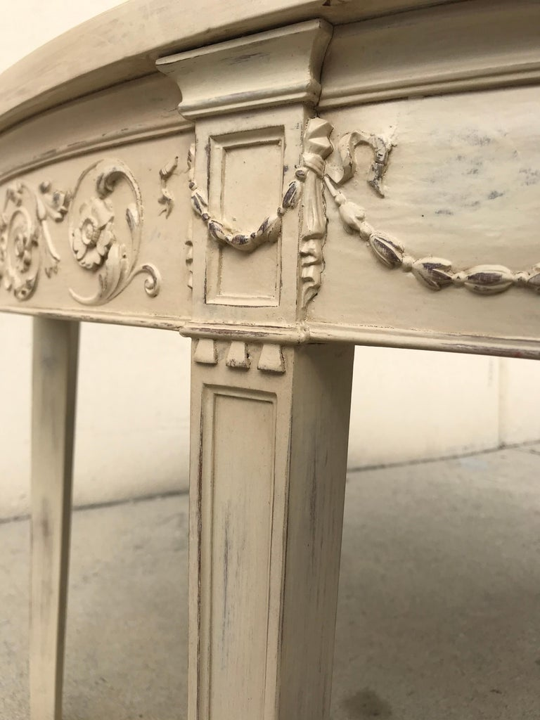 French 19th Century Painted Neoclassical Demilune Console Tables, a Pair For Sale 3