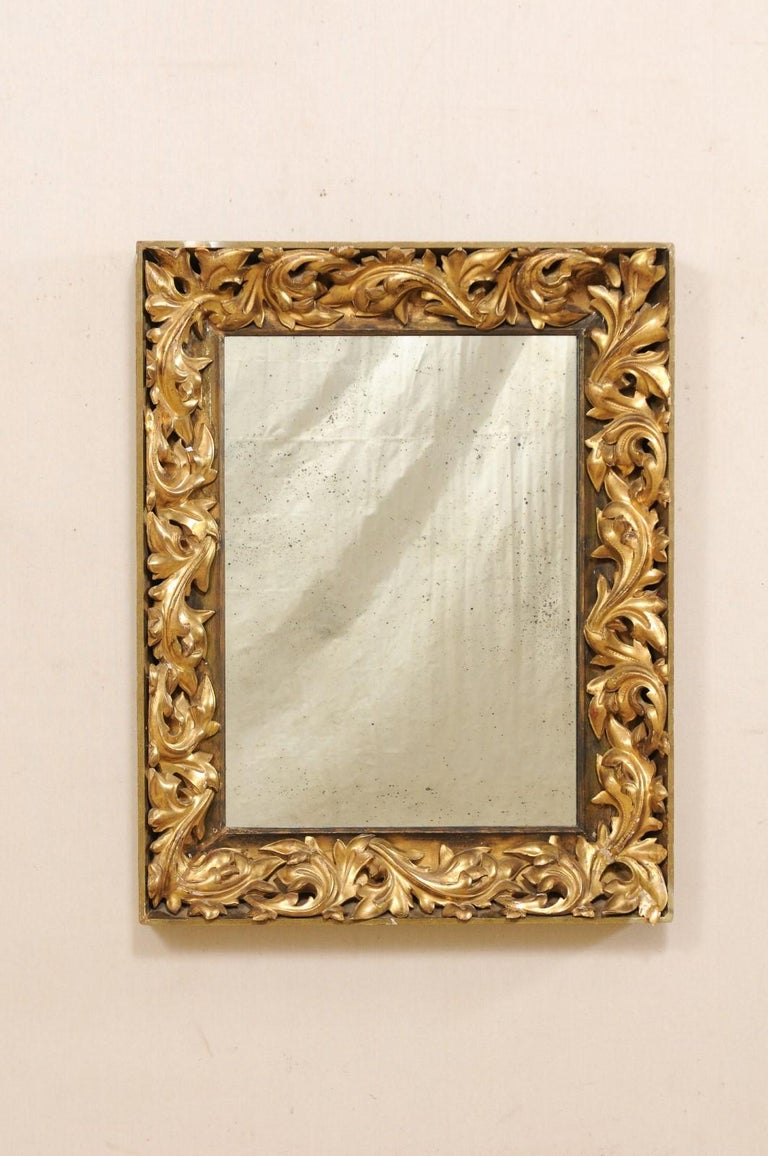 Hand-Carved French 19th Century Rectangular-Shaped, Rococo Carved and Giltwood Mirror For Sale