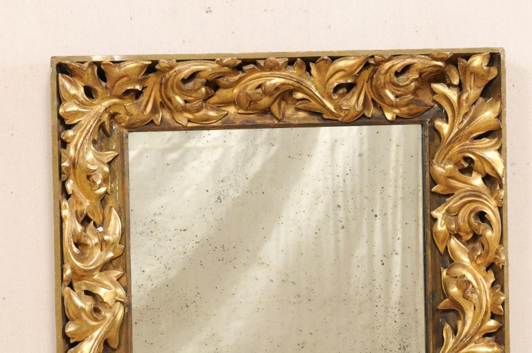French 19th Century Rectangular-Shaped, Rococo Carved and Giltwood Mirror For Sale 1