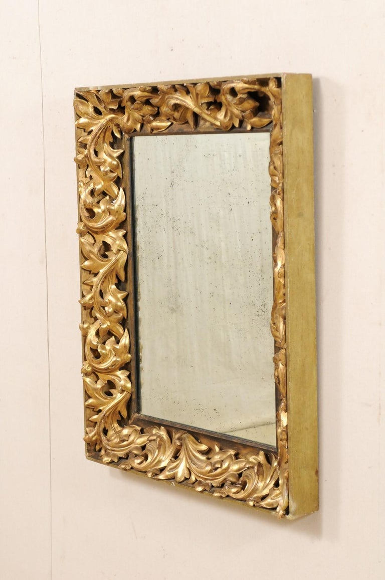 French 19th Century Rectangular-Shaped, Rococo Carved and Giltwood Mirror For Sale 5