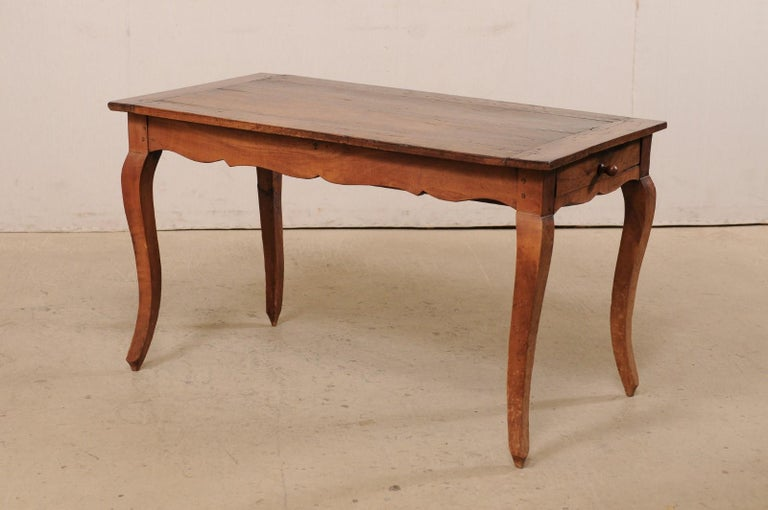 French 19th C. Table w/Scalloped Apron & Single Drawer For Sale 6