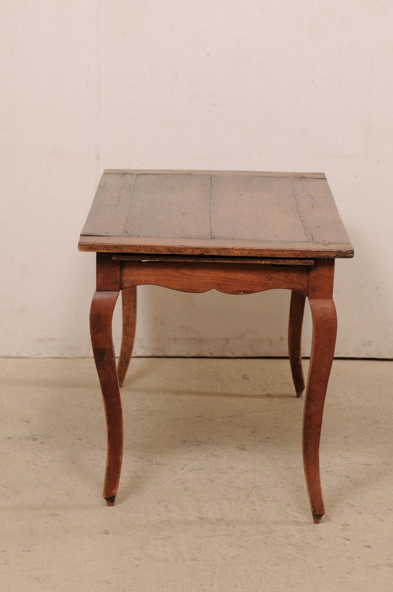 19th Century French 19th C. Table w/Scalloped Apron & Single Drawer For Sale