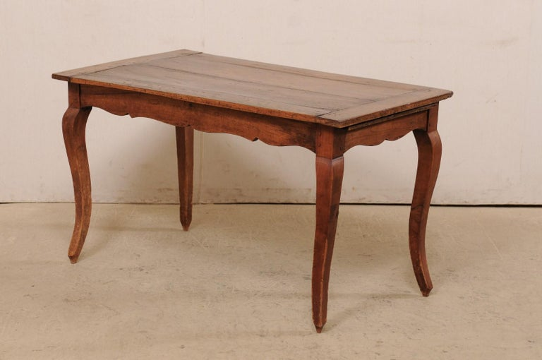 Fruitwood French 19th C. Table w/Scalloped Apron & Single Drawer For Sale