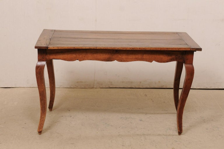 French 19th C. Table w/Scalloped Apron & Single Drawer For Sale 1