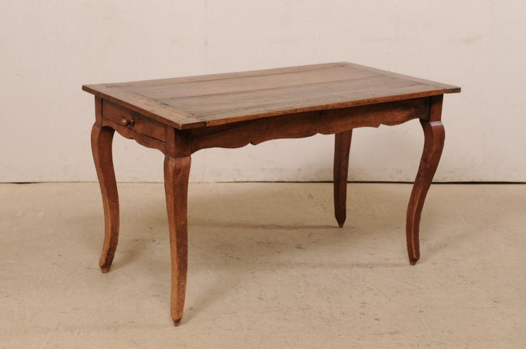 French 19th C. Table w/Scalloped Apron & Single Drawer For Sale 2