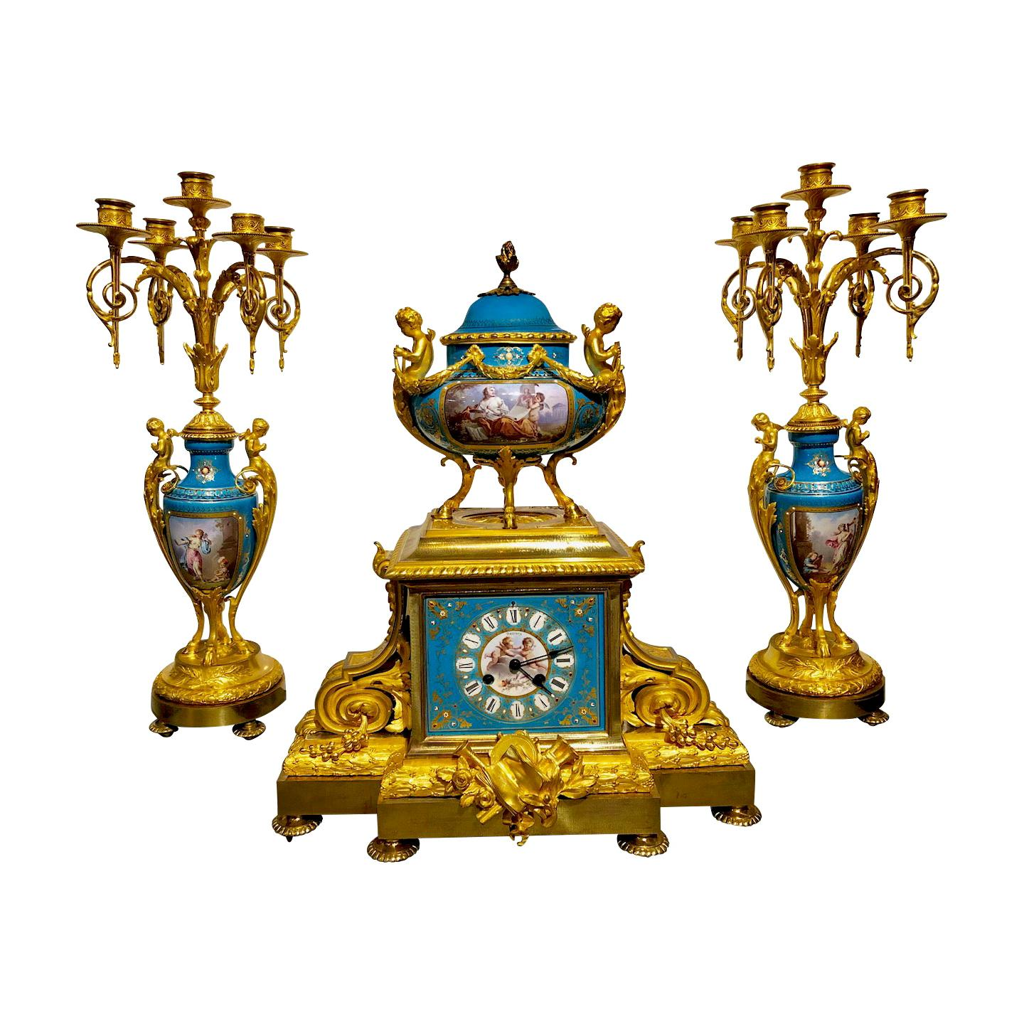 19th Century Ormolu Bronze and Sevres Jeweled Clock Set by H. Picard/Deniere