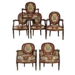 French 19th-Century, Fruitwood Six-Pièce Salon Suite  Louis XVI Style