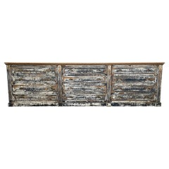 French 19th Century 12 Drawer Painted Shop Counter