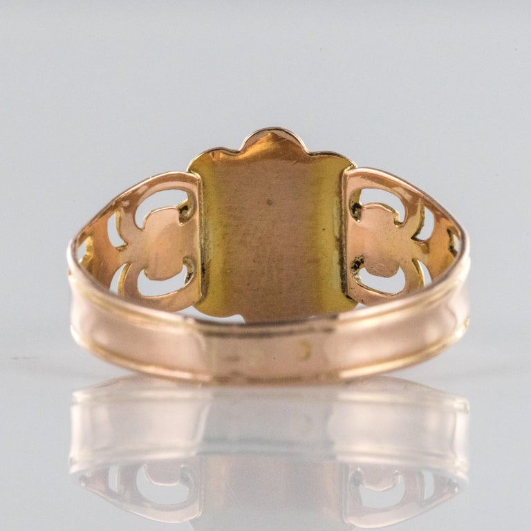 French 19th Century 18 Karat Rose and Yellow Gold Promise Ring For Sale 5