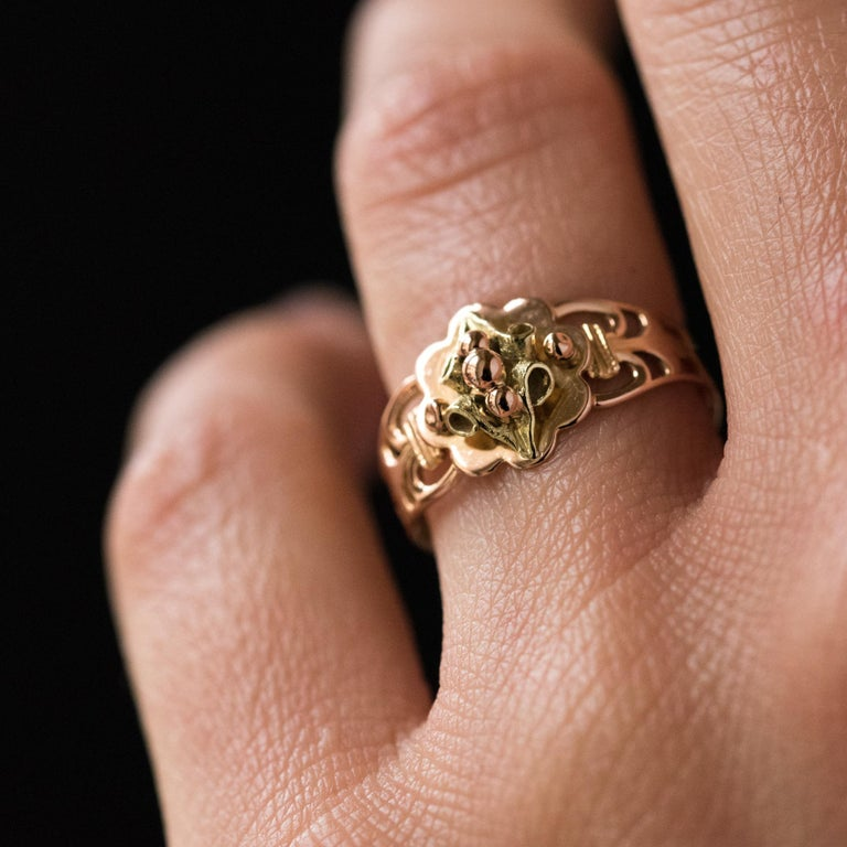 French 19th Century 18 Karat Rose and Yellow Gold Promise Ring For Sale 6