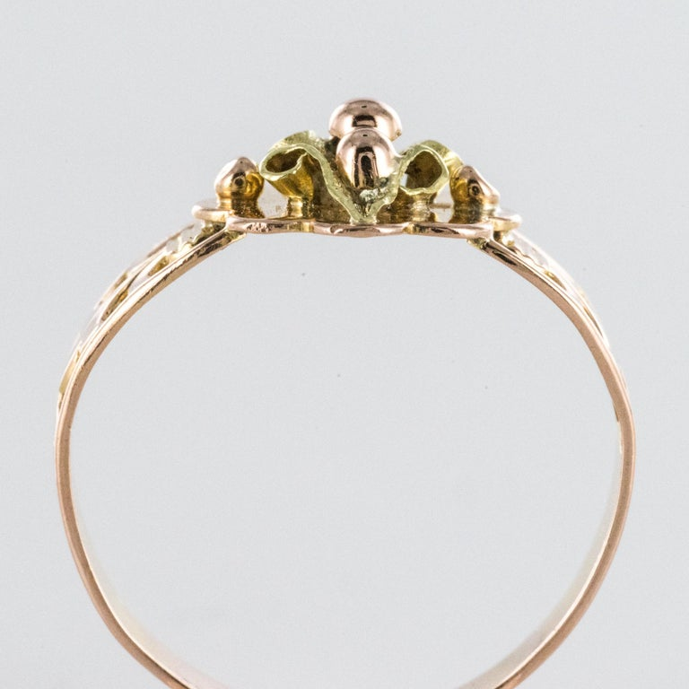 French 19th Century 18 Karat Rose and Yellow Gold Promise Ring For Sale 7