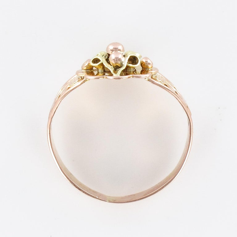 French 19th Century 18 Karat Rose and Yellow Gold Promise Ring For Sale 8