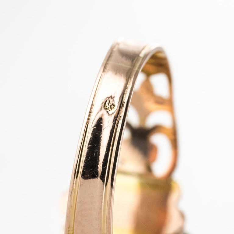 French 19th Century 18 Karat Rose and Yellow Gold Promise Ring For Sale 9
