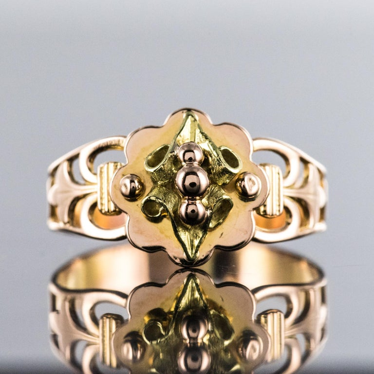 Napoleon III French 19th Century 18 Karat Rose and Yellow Gold Promise Ring For Sale