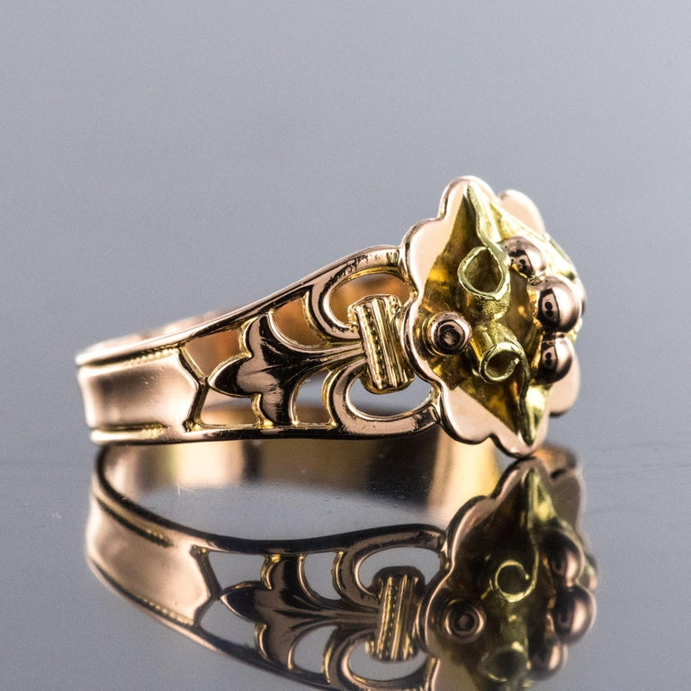 French 19th Century 18 Karat Rose and Yellow Gold Promise Ring In Excellent Condition For Sale In Poitiers, FR