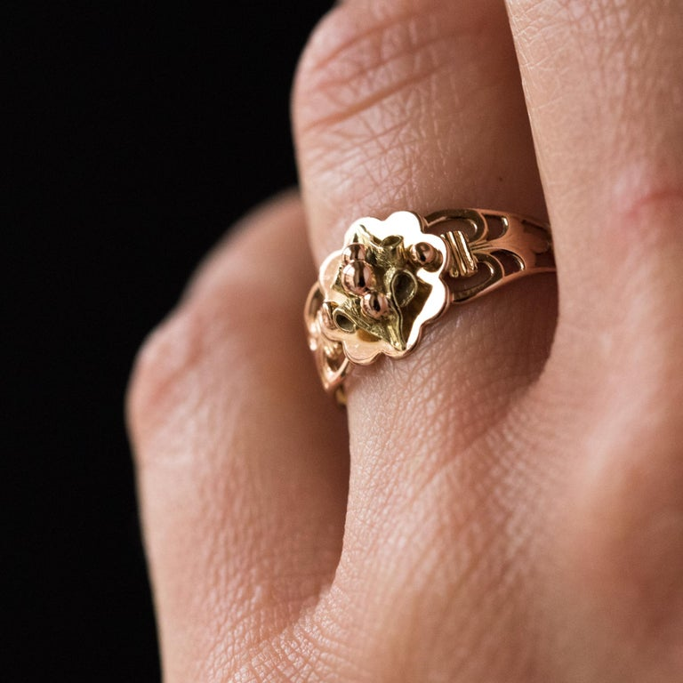 Women's French 19th Century 18 Karat Rose and Yellow Gold Promise Ring For Sale