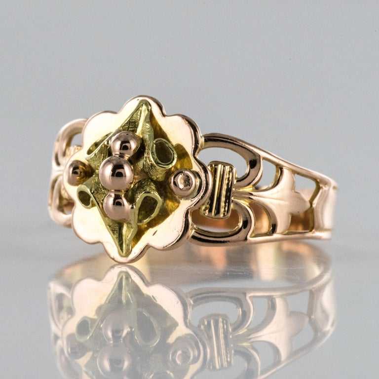 French 19th Century 18 Karat Rose and Yellow Gold Promise Ring For Sale 1