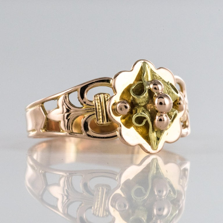 French 19th Century 18 Karat Rose and Yellow Gold Promise Ring For Sale 2