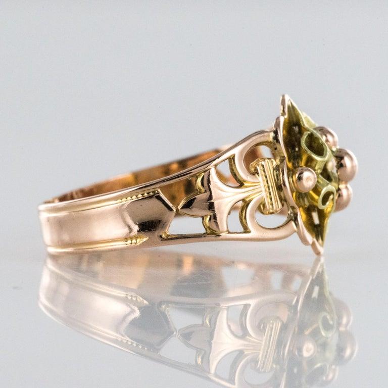 French 19th Century 18 Karat Rose and Yellow Gold Promise Ring For Sale 4