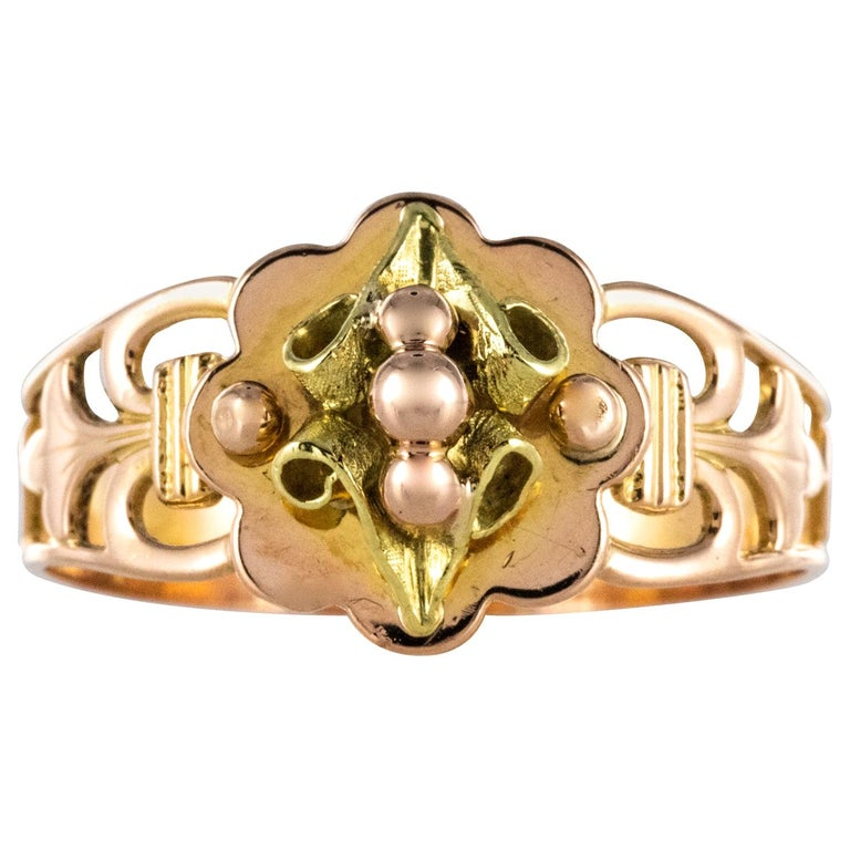 French 19th Century 18 Karat Rose and Yellow Gold Promise Ring For Sale