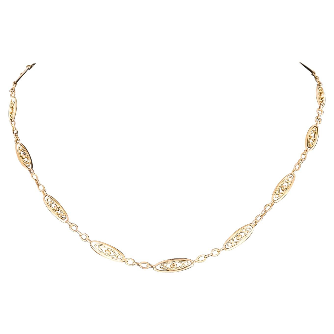 French 19th Century 18 Karat Rose Gold Chain Necklace