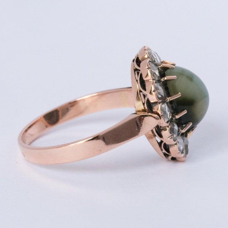 French 19th Century 18 Karat Rose Gold Chrysoberyl Cat's Eye Cluster Ring For Sale 5