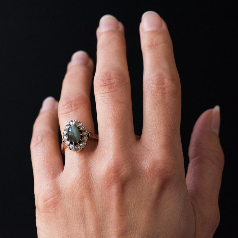 French 19th Century 18 Karat Rose Gold Chrysoberyl Cat's Eye Cluster Ring For Sale 6