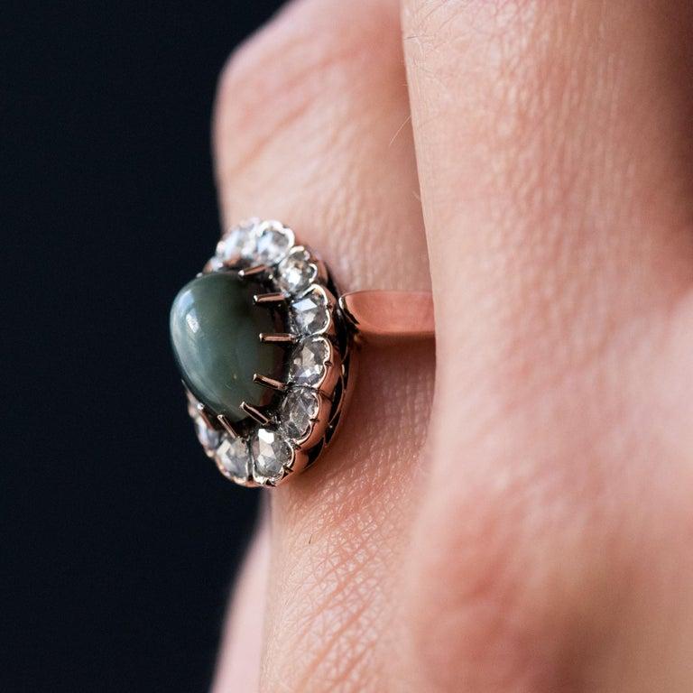 French 19th Century 18 Karat Rose Gold Chrysoberyl Cat's Eye Cluster Ring For Sale 9