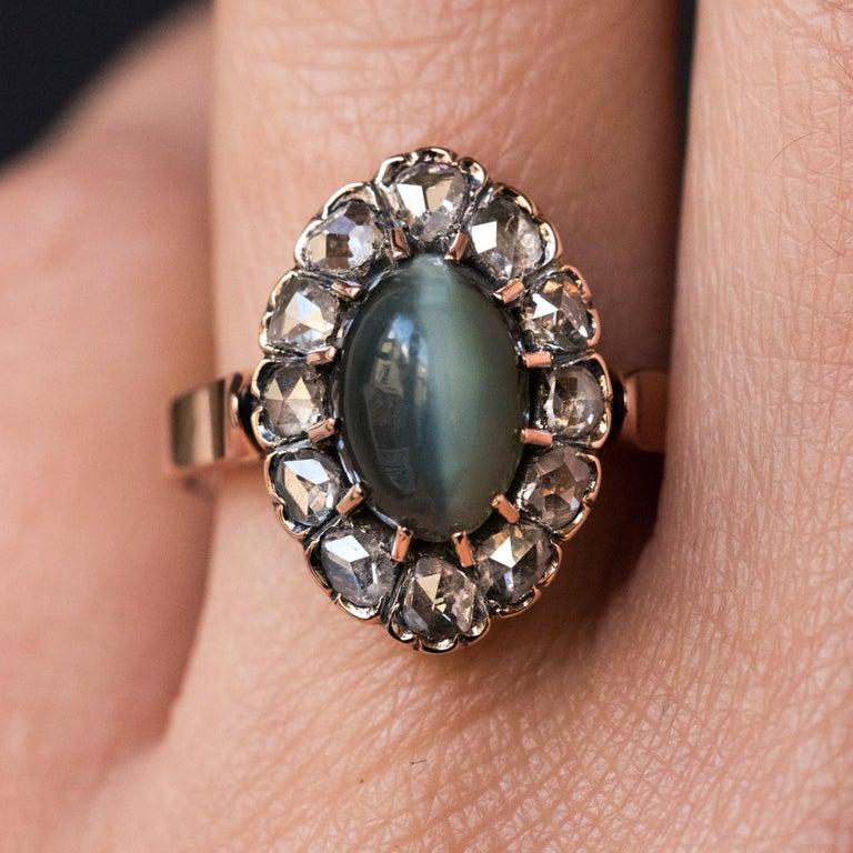 French 19th Century 18 Karat Rose Gold Chrysoberyl Cat's Eye Cluster Ring For Sale 10